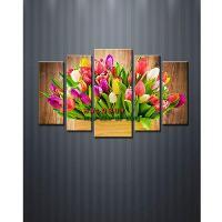 Tranh treo tường bộ giỏ hoa Tulip DH8...