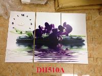 Tranh đồng hồ hoa Lan trên nước DH510A